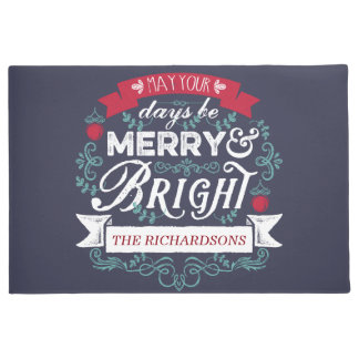 Christmas Typography Merry & Bright Custom Banner Doormat