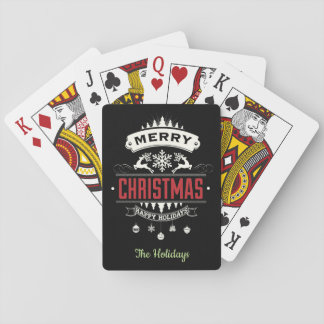 Christmas Typography/Merry Christmas Happy Holiday Playing Cards