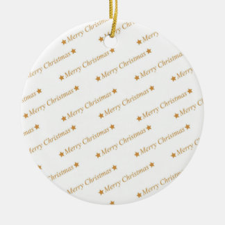 Christmas Typography Merry Christmas Pattern Ceramic Ornament