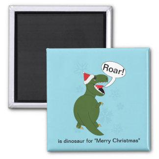 Christmas Tyrannosaurus Rex Square Magnet
