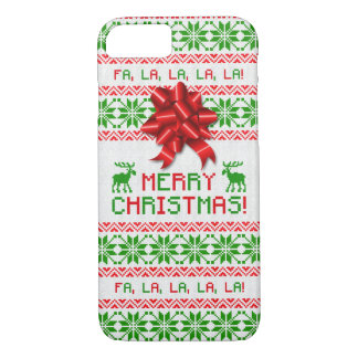 Christmas Ugly Christmas Sweater Red Green Bow iPhone 7 Case