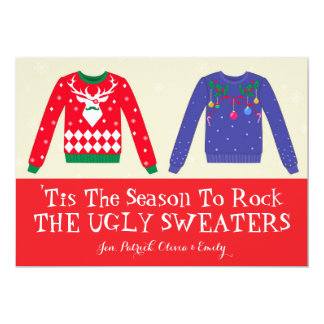 """Christmas Ugly Sweaters 5"""" X 7"""" Invitation Card"""