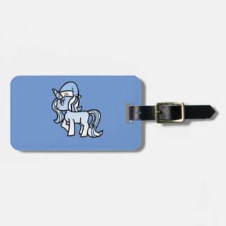 Christmas Unicorn Snow Frosted Blue Luggage Tag