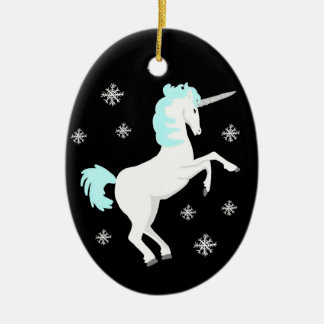 Christmas Unicorn with Snowflakes Ceramic Ornament