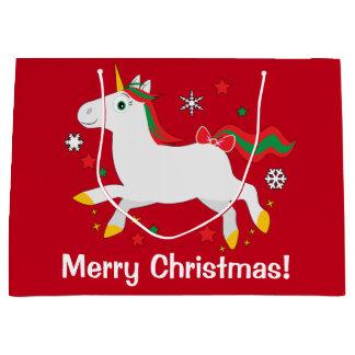 Christmas Unicorn with Stars Large Gift Bag