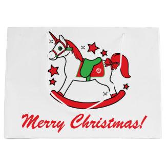 Christmas Unicorn with Stars Merry Christmas Large Gift Bag