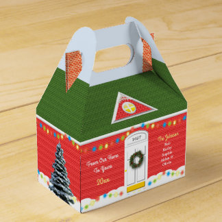 Christmas Victorian Home Personalized Holiday Box Party Favor Box