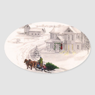 Christmas Victorian House Sticker