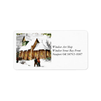 Christmas Village Church Label