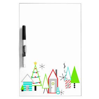 christmas village mid century modern dry erase board
