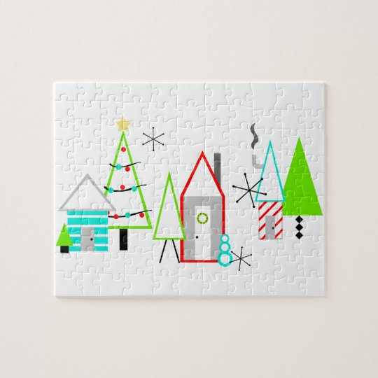 christmas village mid century modern jigsaw puzzle