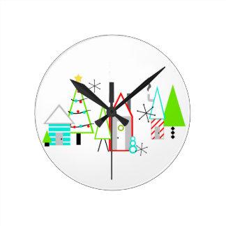 christmas village mid century modern round clock