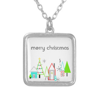 christmas village mid century modern silver plated necklace