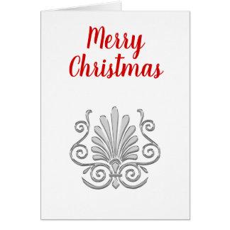 Christmas Vintage Art Deco Silver Plume Arabesque Card