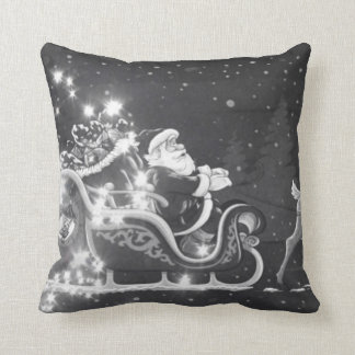 Christmas vintage black and white Santa decor Throw Pillow