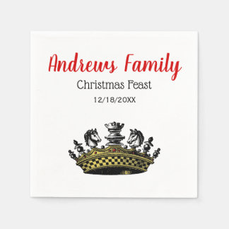 Christmas Vintage Crown With Chess Pieces Color Disposable Napkin