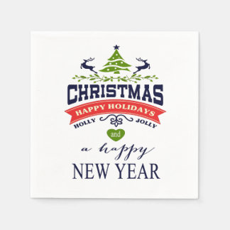 Christmas Vintage Deer Word Art | white Paper Napkin
