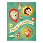 Christmas Vintage Dolls and Reindeer Postcard