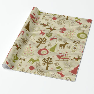 Christmas vintage doodles gift Wrapping Paper