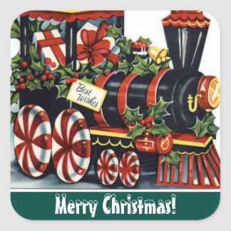 Christmas Vintage Holiday train sticker