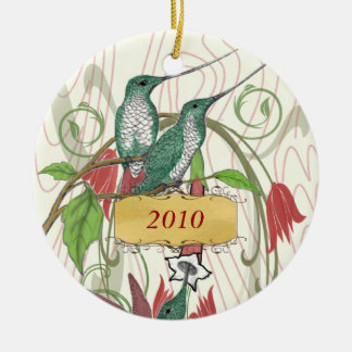 Christmas Vintage Hummingbirds Ceramic Ornament