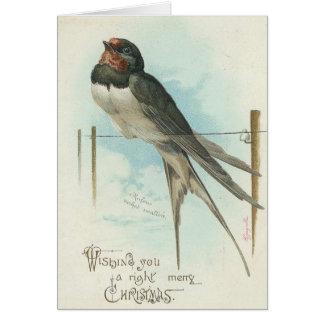 Christmas - Vintage Image Swallow Card