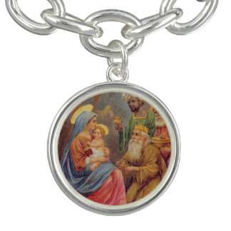 Christmas Vintage Nativity Jesus Illustration Bracelet
