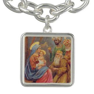 Christmas Vintage Nativity Jesus Illustration Charm Bracelets