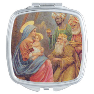 Christmas Vintage Nativity Jesus Illustration Makeup Mirrors