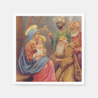 Christmas Vintage Nativity Jesus Illustration Paper Napkins