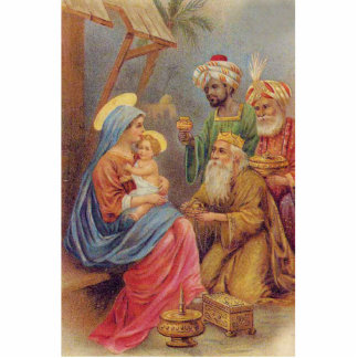 Christmas Vintage Nativity Jesus Illustration Photo Sculpture Ornament