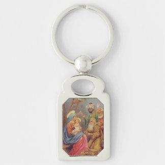 Christmas Vintage Nativity Jesus Illustration Silver-Colored Rectangle Keychain