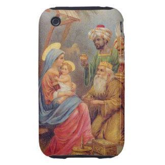 Christmas Vintage Nativity Jesus Illustration Tough iPhone 3 Covers