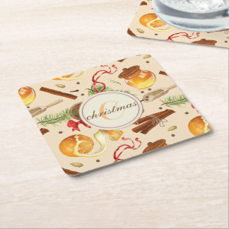 Christmas Vintage Scents Square Paper Coaster