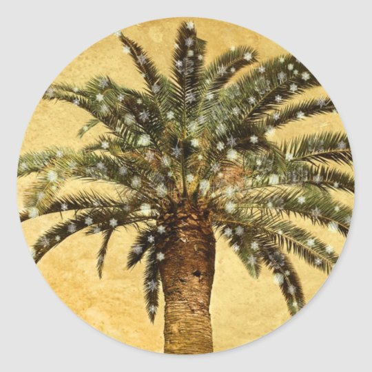 Christmas Vintage Tropical Palm Tree w Snowflakes Classic Round Sticker