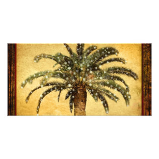 Christmas Vintage Tropical Palm Tree w Snowflakes Photo Cards