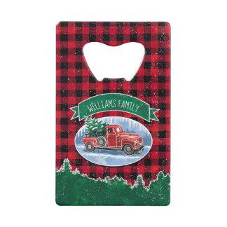 Christmas Vintage Truck Add Name Credit Card Bottle Opener
