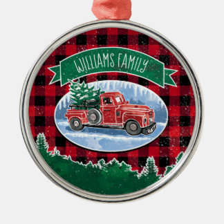 Christmas Vintage Truck Add Name Metal Ornament