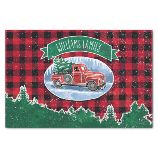 Christmas Vintage Truck Add Name Tissue Paper
