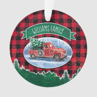 Christmas Vintage Truck Add Photo and Name Ornament