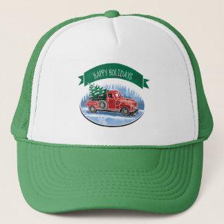 Christmas Vintage Truck Happy Holidays Trucker Hat