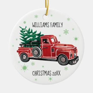 Christmas Vintage Truck w/ Snowflakes Ceramic Ornament