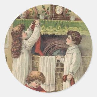 Christmas Vintage Victorian Children Stockings Sti Classic Round Sticker