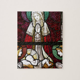 Christmas Vitrage Mother Mary and Jesus Jigsaw Puzzle