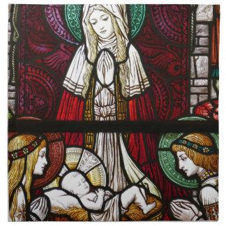 Christmas Vitrage Mother Mary and Jesus Napkin