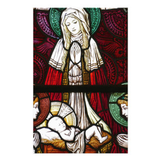 Christmas Vitrage Mother Mary and Jesus Stationery