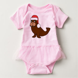 Christmas Walrus with Red Santa Hat Baby Bodysuit