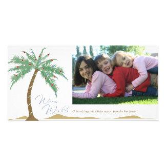 Christmas Warm Wishes, Palm Tree Beach Customized Photo Card
