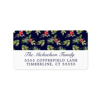 Christmas Watercolor Berries & Pines Pattern