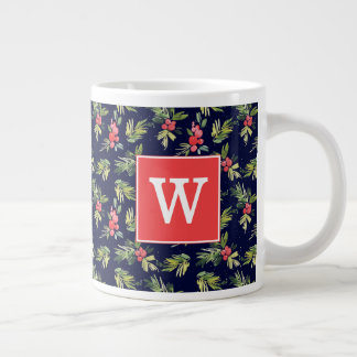 Christmas Watercolor Berries & Pines Pattern Large Coffee Mug